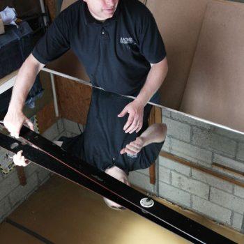 Preparing to Cut glass in Newport
